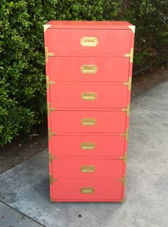 Sassy Coral and Gold Campaign Skinny Dresser.