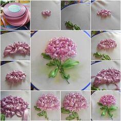 Царственно величавый цветок — хризантема. Непростой мотив для вышивания лентами.Вышитые лентами цветы удивительно реалистичны. Приемы и секреты вышивки лентами у каждой мастерицы свои. Осенний цветок хризантема — сама пышность и великолепие