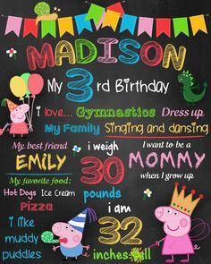 ON SALE 35% Peppa Pig Birthday Chalkboard by CuteInvitation1