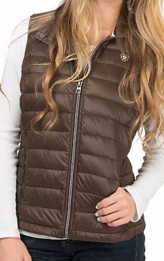 This Ariat brown down puffer vest will go with anything in your closet. Perfect for fall!