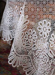 Russian bobbin lace tablecloth. Detail. #Russian #bobbin #lace