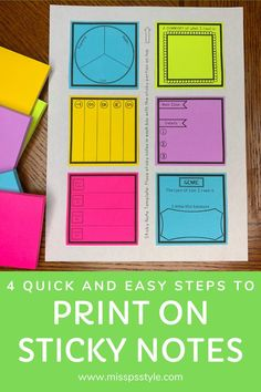 Have you been wanting to learn how to print onto sticky notes but have no idea how to make it happen? Check out this blog post which shares quick and easy steps to printing on your post it notes! There are helpful photos and videos to walk you through the steps from beginning to end! #misspsstyle #teacherblogs #teacherblogselementary #teacherblogger Teacher Blogs, Teacher Hacks, Teacher Resources, First Year Teachers, New Teachers, Elementary Teacher, Upper Elementary, Classroom Tools, Classroom Supplies