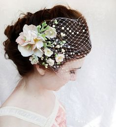 floral bridal hair clip, mint green wedding hair accessory, pale pink flower - ALANNA - ivory bridal hair accessories from ... TheHoneycomb on Etsy