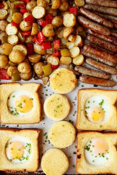 Sheet Pan Egg in a Hole with Sausage and Breakfast Potatoes is the easiest breakfast or brunch you'll ever make! All you need is a sturdy baking sheet! Breakfast Potatoes, Sausage Breakfast, Breakfast For Dinner, Recipes With Breakfast Sausage Links, Breakfast Ideas, Breakfast Bake, Breakfast Recipes, Cheap Clean Eating, Eating Fast