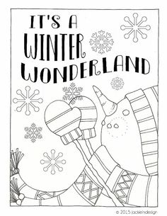 Winter Wonderland Coloring Page PDF Instant By Jackieindesign
