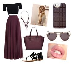 """""""Casual Purple (Loving Chocolate)"""" by norasheehan2000 ❤ liked on Polyvore featuring Halston Heritage, American Apparel, Lucky Brand, Not Rated, Casetify and Lanvin"""