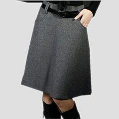 Aliexpress.com: Comprar 2015 otoño invierno falda mujeres falda de talle alto más el tamaño de lana faldas moda delgado elegante de lana faldas mujeres Saias de falda de moda confiables proveedores de European Style Casual&Fashion Clothing.