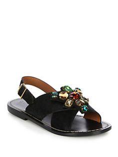 Marni - Jeweled Calf Hair Crisscross Sandals