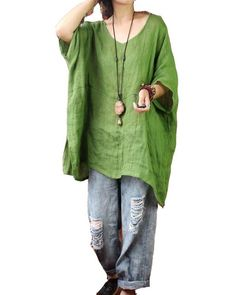 Green large loose style V neck linen tops
