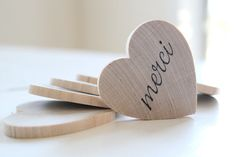 5 Merci Heart Magnets  wedding favors french by TheLonelyHeart