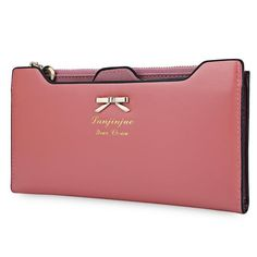 Guapabien Women Purse Long Bow Wallets Candy Color Wallet PU Thin Card Holders Purse Female