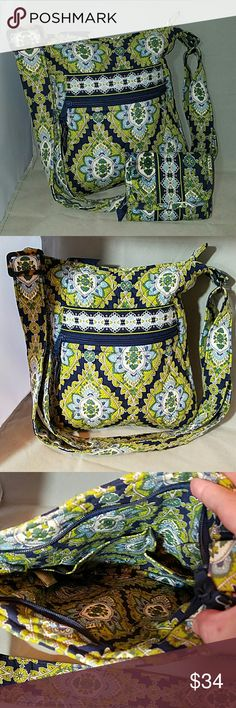 """VERA BRADLEY 'Cambridge' Cross Body & Wallet Brand: Vera Bradley  Item *Retired Pattern of Cambrudge The Bag has one Open Outer Pouch & One that Zips. *Bag zippers Closed. *2 Pockets Inside  Wallet *Matching pattern *3 Card Slots, 1 ID Slot, 1 Zippered Pouch for Change, 1 Pouch that runs the entire height for cash, receipts, etc. *Velcro Closure  Color: Green & Navy  Measurements: Bag - 10""""w x 11""""h Drop from 14"""" - 28"""". Wallet closed - 4.5""""w x 4.75""""h  Materials: Cotton  Condition: No fade…"""
