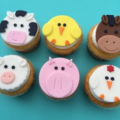 12 Farm Animal Cupcake Toppers-Fondant by bakerslovebakery on Etsy Fondant Cupcakes, Fondant Toppers, Cupcake Toppers, Cupcake Cakes, Farm Animal Cupcakes, Farm Animal Party, Animal Cakes, Barnyard Cupcakes, Farm Party