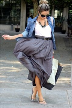 maxi skirt, white tank, belt & denim shirt. bun and sandals.