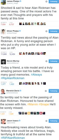 some of the Harry Potter Cast react to the news of Alan Rickman's passing.