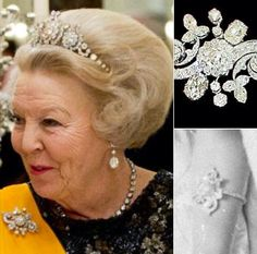 DUTCH ROYAL JEWELS~ Floral Brooch Exact provenance unclear. First seen on Queen Wilhelmina in 1898 the brooch was set on a simple diamond band and worn as a bracelet. At that time the brooch had a Pearl in the center. Since then the Pearl has been replaced by a rose cut diamond. The brooch was very often worn by former Queen Beatrix.