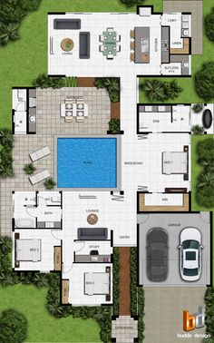 colour floor plan for a building company Palm Cove QLD - Architektur Model House Plan, Pool House Plans, Sims House Plans, House Layout Plans, Courtyard House Plans, Basement House Plans, Bedroom House Plans, Dream House Plans, House Layouts