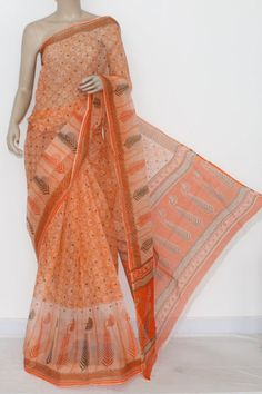 Orange JP Kota Doria Printed Cotton Saree (without Blouse) 15308