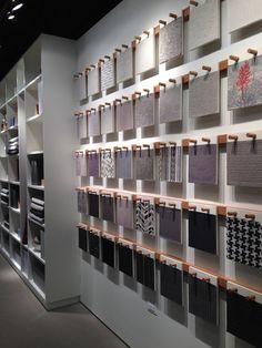 HBF Textiles showroom at Neocon, nive line up on wooden peg system - (re)Pinned by INinterieurs Bar Design, Bureau Design, Design Studio, Display Design, Store Design, Showroom Interior Design, Tile Showroom, Furniture Showroom, Bathroom Interior Design