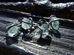ON SALE raw aquamarine stud earrings studs gemstone by BeijoFlor