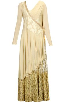 Beige zari and sequins embroidered angrakha style anarkali set available only at pernia's pop up shop.. #ayamiiLifeStyleBoutique