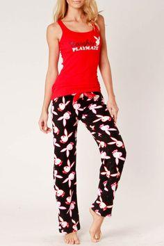 Playboy 2-Piece Fleece Pajama Set In Red - Beyond the Rack