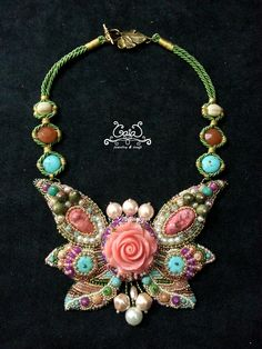 Drusy and carved coral bead embroidery necklace by Adiningtyas (2015)