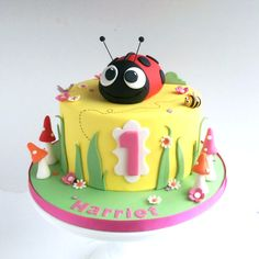 Ladybird themed birthday cake via Swirls Bakery in Nottingham.