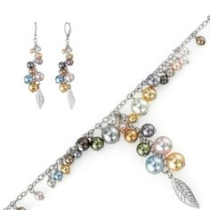 Blue Pearls - Set: Bracelet and Earrings Swarovski Crystal Beads - BPS 9101P-9201 P Blue Pearls. $166.30. Save 71% Off!