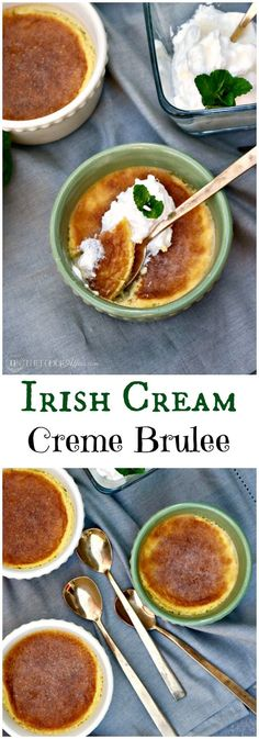 Irish Cream Creme Brulee Made with homemade sugar free liqueur. A classic French brulee recipe with an Irish twist to tantalize your tastebuds. Best Dessert Recipes, Fun Desserts, Great Recipes, Favorite Recipes, Irish Desserts, Asian Desserts, Dessert Ideas, Appetizer Recipes, Cannoli