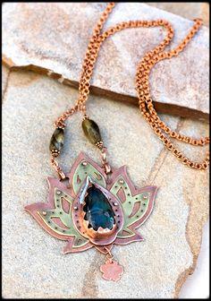 Lotus Necklace with Labradorite: Copper Necklace, Om Necklace, Blue Labradorite, Magic crystal Necklace, Boho necklace, yoga spirit jewelry