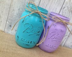 Pint Mason Jars,Purple and Turquoise,Painted Mason Jars,Rustic Wedding Centerpieces,Baby Shower Decoration,Flower Vases,Rustic Home Decor