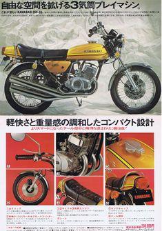 Kawasaki Motorcycles, Vintage Motorcycles, Cars And Motorcycles, Japanese Motorcycle, Retro Motorcycle, Kawasaki Classic, Kawasaki 250, Motorcycle Manufacturers, Antique Tractors
