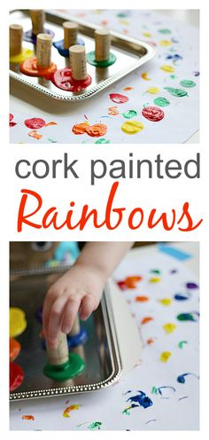 I knew there was a reason I've been saving all of my wine corks! @Ami Bunch  Easy rainbow craft for kids.