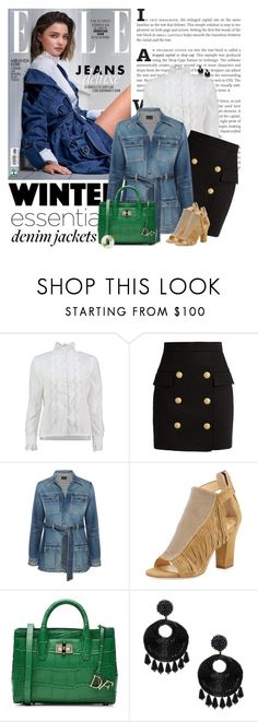 """""""Denim Trend"""" by sherry7411 ❤ liked on Polyvore featuring Kerr®, Lowie, Balmain, Yves Saint Laurent, Giuseppe Zanotti, Diane Von Furstenberg, Kenneth Jay Lane, Alexis Bittar, polyvoreeditorial and polyvorecontest"""