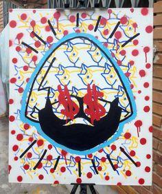 Calimeromero  Tamaño: 50x61 cm Técnica: acrílicos + serigrafía + pintura en aerosol + rotuladores base al agua Soporte: Lienzo (preparación casera)