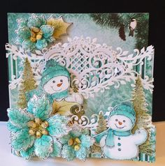 The Splitcoaststampers Free For All Challenge is Christmas in July. I created a foldout card with the Heartfelt Creations white 6x6 ...