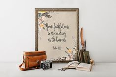 Printable bible verse, Scripture art print, Nursery bible verses, Wall art, Home, Christian art, Psalm 89:1-2, Floral print art BD-688