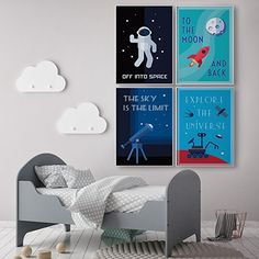 AmazonSmile: LIMITED EDITION: Kids Room Decor, Set of FOUR 11 x 17 Space Posters, Children Poster, Modern Art For Children / Canvas Wall Art, Comes Ready To Use! Retro Science, 4 Solar System, Classroom Posters.: Posters & Prints