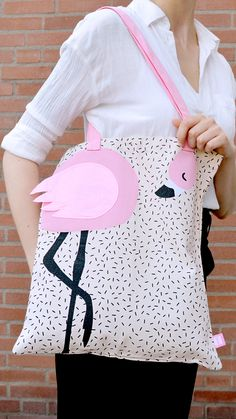 #HEMA #flamingo #bag #summer Do It Yourself Inspiration, Flamingo Party, Cute Friends, Diy Gifts, Drawstring Backpack, Coin Purse, Pouch, Crafty, My Love