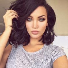 If you have brown hair color shade and looking for a new bob hairstyles here are Ladies' Beloved Brunette Bob Pics that we. My Hairstyle, Pretty Hairstyles, Bob Hairstyles, Brunette Hairstyles, Megan Fox Hairstyles, Short Dark Hairstyles, Wedding Hairstyles, Bridesmaid Hairstyles, Bob Haircuts
