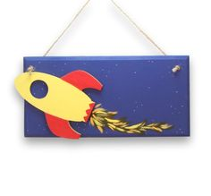 Childrens name plaque 3D Space Rocket by MissySweetDreamsArt