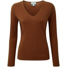 Pure Collection Jaycee V Neck Jumper, Rich Bronze (170 CAD) ❤ liked on Polyvore featuring tops, sweaters, brown tops, long sleeve v neck sweater, long sleeve tops, long sleeve sweater and v neck sweater