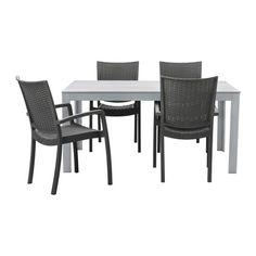 FALSTER / INNAMO Tisch 4 Armlehnstühle/außen - grau/dunkelgrau - IKEA