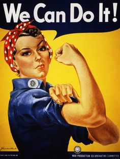 "A finely restored version of J. Howard Miller's iconic Rosie the Riveter poster. Rosie proclaims, ""We Can Do It!"" Rosie the Riveter came to represent women working the production line on the home front during WWII. World War Two Rosie The Riveter Poster, Rosie Riveter, Rosie The Riveter Costume, We Can Do It, Yes I Can, Women In History, History Images, Modern History, Up Girl"