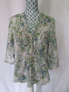 LAUREN CONRAD Womens Floral Bird Blouse Button 3/4 Sleeve Top Shirt Size M #LaurenConrad #Blouse #Casual