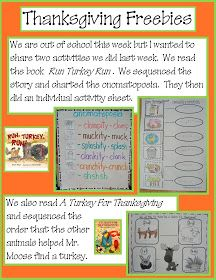 """Activities for """"Run Turkey Run"""" and """"A Turkey for Thanksgiving"""" books"""
