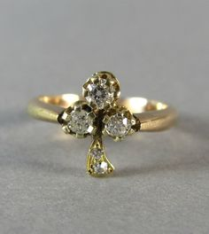 RARE Victorian trefoil or clover mine cut diamond ring, antique engagement ring, stacking ring, statement ring, gold ring, wedding ring.