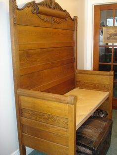 Here is an Antique solid Oak headboard and footboard we recently had made into a bench.you know in those days there were only twin and do. Antique Headboard, Headboard Benches, Antique Beds, Headboard And Footboard, Headboards For Beds, King Headboard, Bed Frame Bench, Old Bed Frames, Headboard Designs