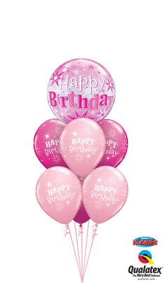 What a great way to celebrate a birthday! This cool balloon bouquet comprises, two tiers of pink birthday balloons and is crowned by a completely round, clear bubble balloon with pink starbursts. Pink Birthday, Birthday Balloons, Happy Birthday, Bubble Balloons, Bubbles, Birthday Accessories, Balloon Bouquet, Party Supplies, Personalized Gifts